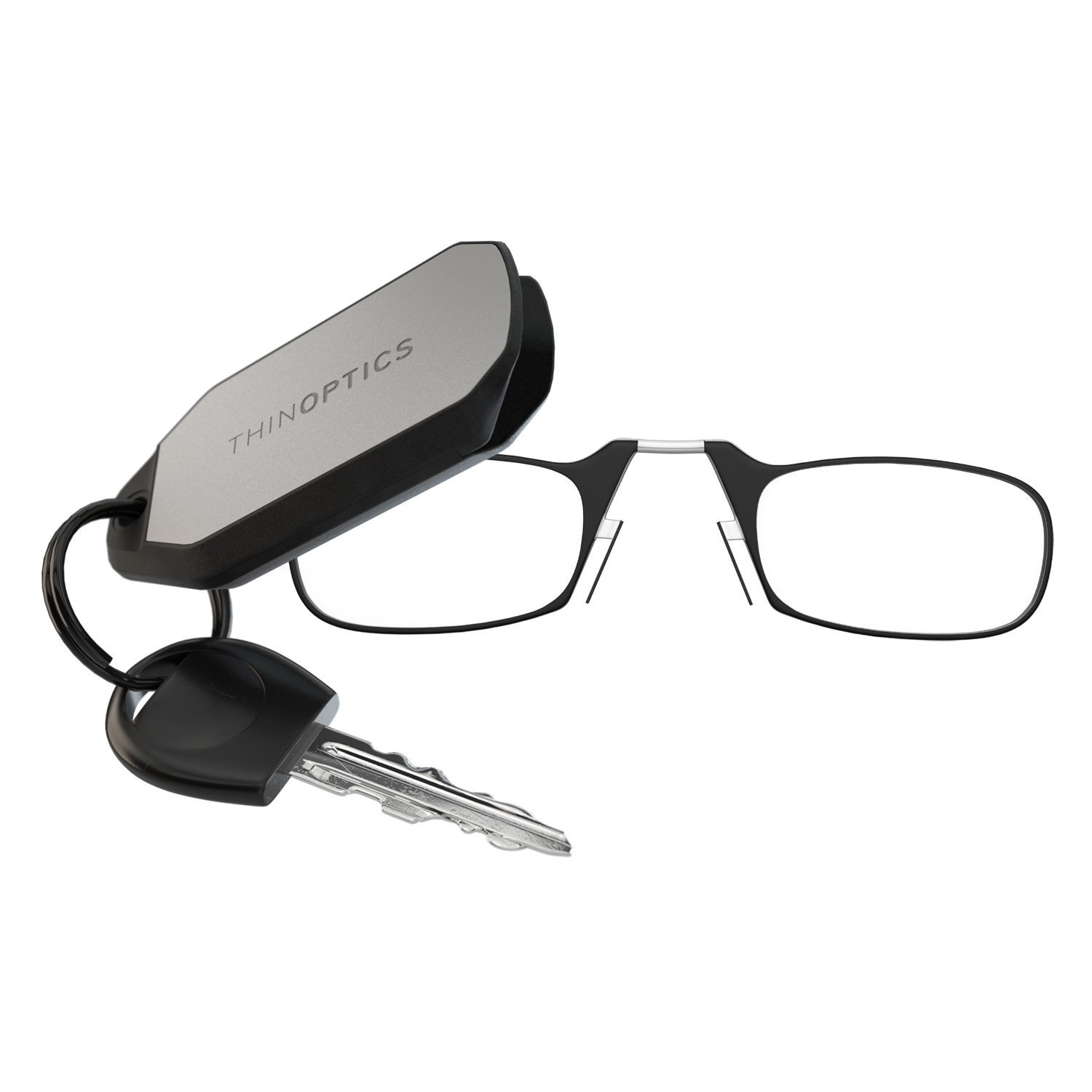 ThinOPTICS Keychain Reading Glasses, Black Frame, 1.50 Strength