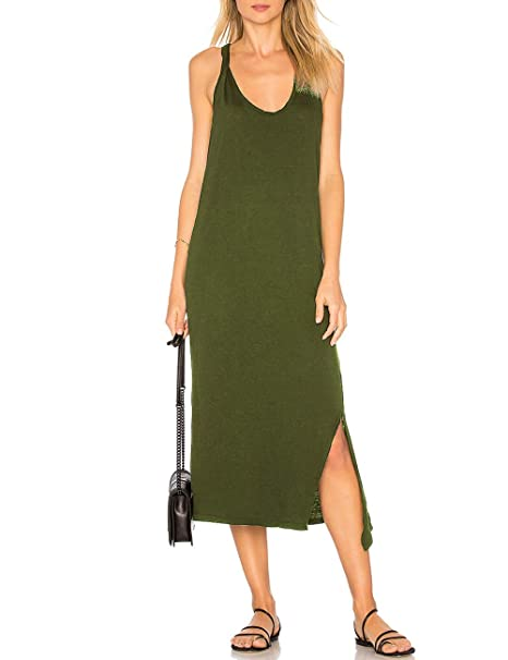 d288ef42f7efb ALLY-MAGIC Womens Sleeveless Side Split Long Dress Casual Tank T-Shirt Midi  Dresses
