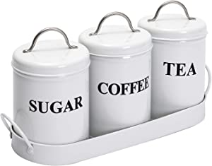 Xbopetda 3 Metal Food Storage Tin, Kitchen Canister Set with Metal Tray, Dry Food Storage Containers for Tea Coffee and Sugar(White)