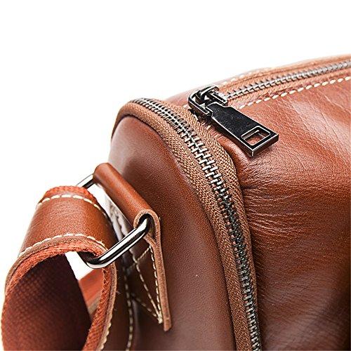 Genda 2Archer Bolso de Hombro de la Honda de la Cartera del Negocio del Cuero Genuino de los Hombres Pequeños (21cm * 11cm * 32cm) (Café) Marrón