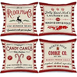 Christmas Farmhouse Home Decor AENEY Christmas Decorations Pillow Covers 18×18 Set of 4, Red Stripe Rustic Winter Holiday Throw Pillows Farmhouse… farmhouse christmas pillow covers