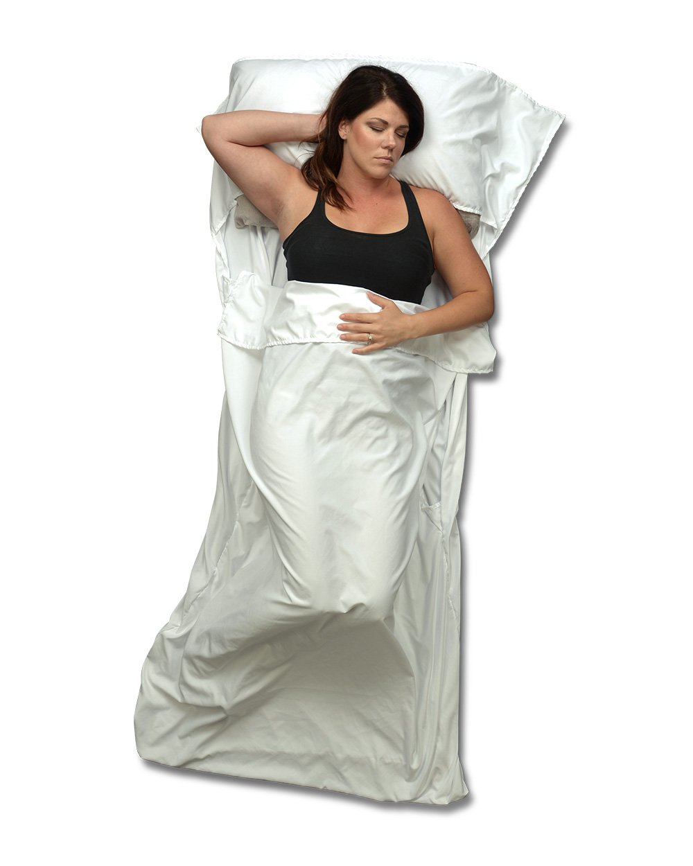 Travel Sheet and Sleeping Bag Liner Use as a Lightweight Sleep Sack also has Full Length and Bottom Zipper