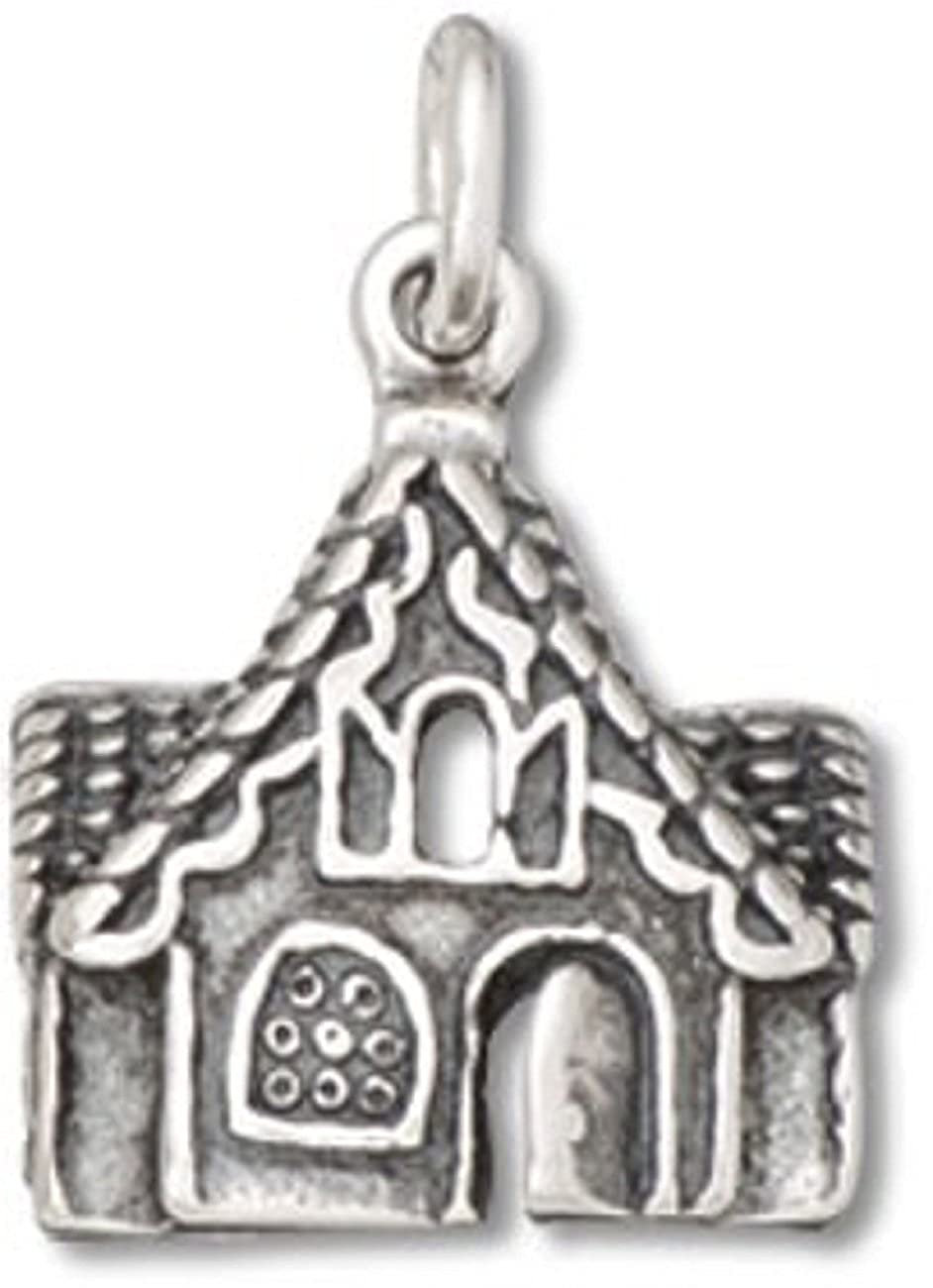 Sterling Silver Womens 1mm Box Chain Cute Gingerbread House Cottage Pendant Necklace