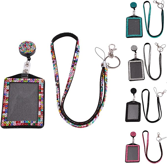 entrambi decorati con strass free size purple Porta badge o cartellino di riconoscimento in resina colorata decorata e con cordoncino