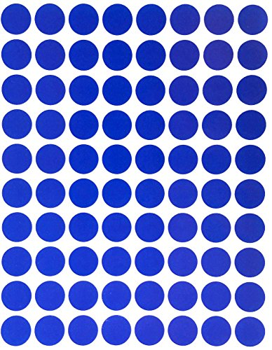 "Color Coding Labels 1/2"" Round - Dot Stickers -- Half inch rounds BLUE sticker -- 1200 pack"