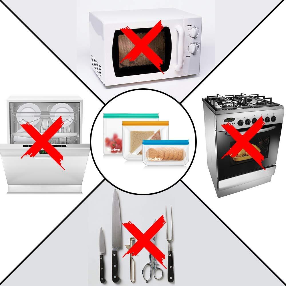 Sacchetti per Freezer Extra Spessi FDA Sacchetti per Conservare a Tenuta Newdora Sacchetti Sandwich Riutilizzabili 12 Pezzi Ziplock Sacchetti per Alimenti 2 per Frutta//5 per Sandwich//5 per Snack