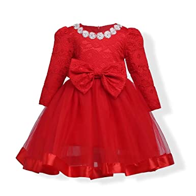 8a5ac54a726eb ZaH Baby Girl Dress Kids Party Wedding Flower Princess Red Christmas Dresses  Gowns(Red,
