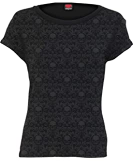Spiral Direct Womens Gothic Elegance-Lace Layered Cap Sleeve Top Black T-Shirt