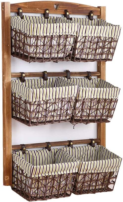 Amazon Com 3tier Floating Shelves Wall Hanging Multi Layer Rattan Basket Fabric Storage Shelve For Living Room Bedroom Wall Shelf Color C Size 39x97cm Home Kitchen