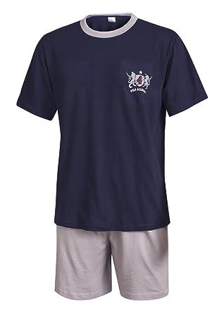 e154a31ed4 Moonline nightwear Herren Pyjama Schlafanzug kurz in Verschiedenen  Ausführungen Herren Pyjama kurz Herren Shorty Schlafanzug aus 100% Baumwolle:  Amazon.de: ...