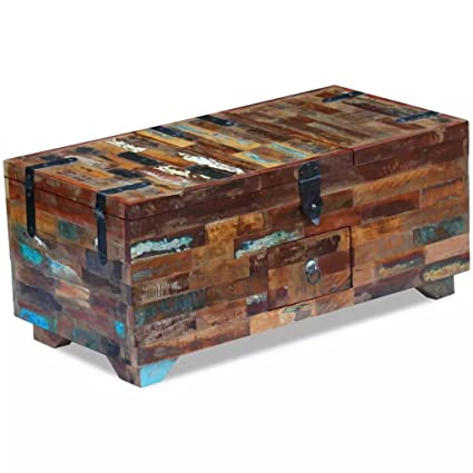 Festnight Coffee Table Storage Box Chest Wooden Table Box For Living Room Bedroom Solid Reclaimed Wood 80x40x35 Cm