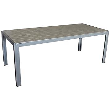 Multistore 2002 Eleganter Gartentisch Für Bis Zu 8 Personen Aluminium Polywoodnon Wood Tischplatte 205x90cm Graugrau Esszimmertisch Küchentisch