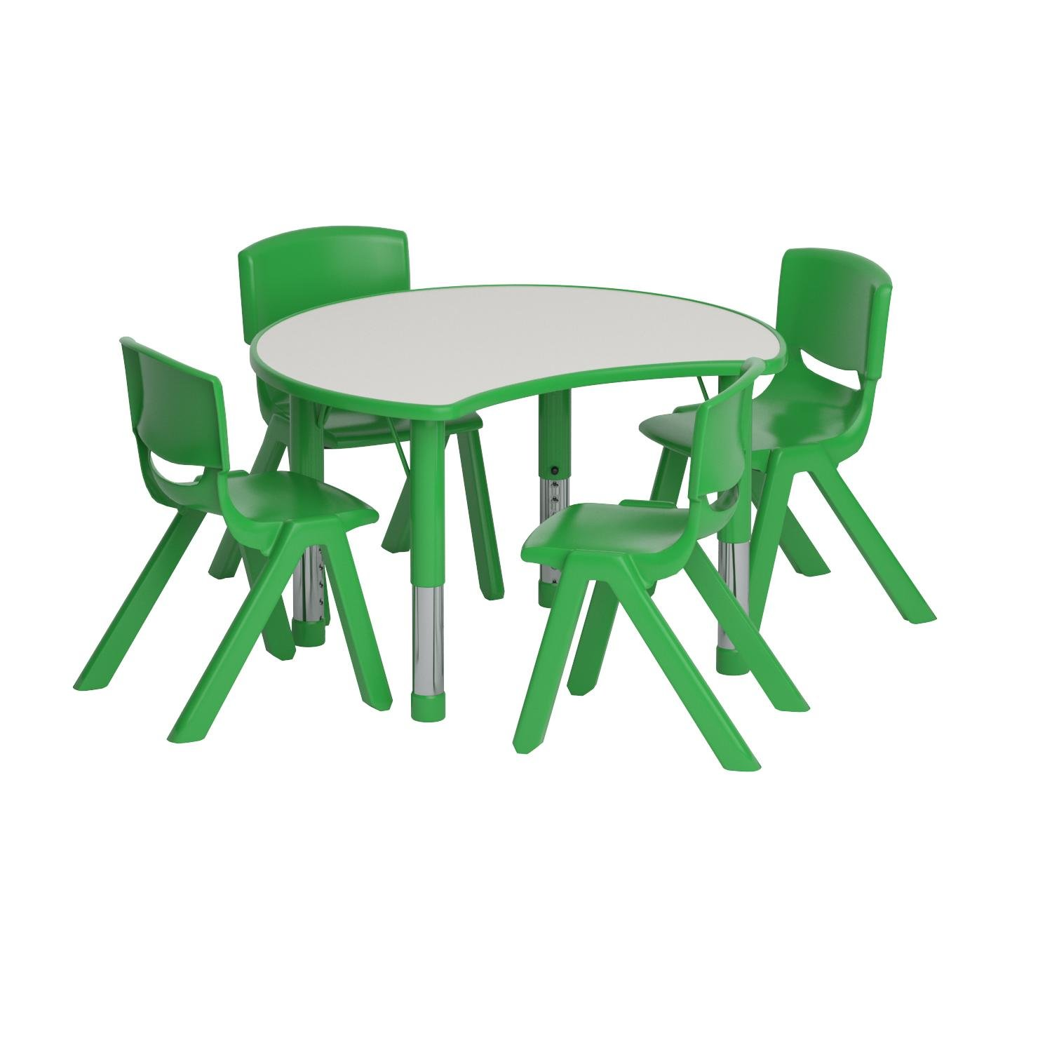 Flash Furniture 25.125''W x 35.5''L Cutout Circle Green Plastic Height Adjustable Activity Table Set with 4 Chairs
