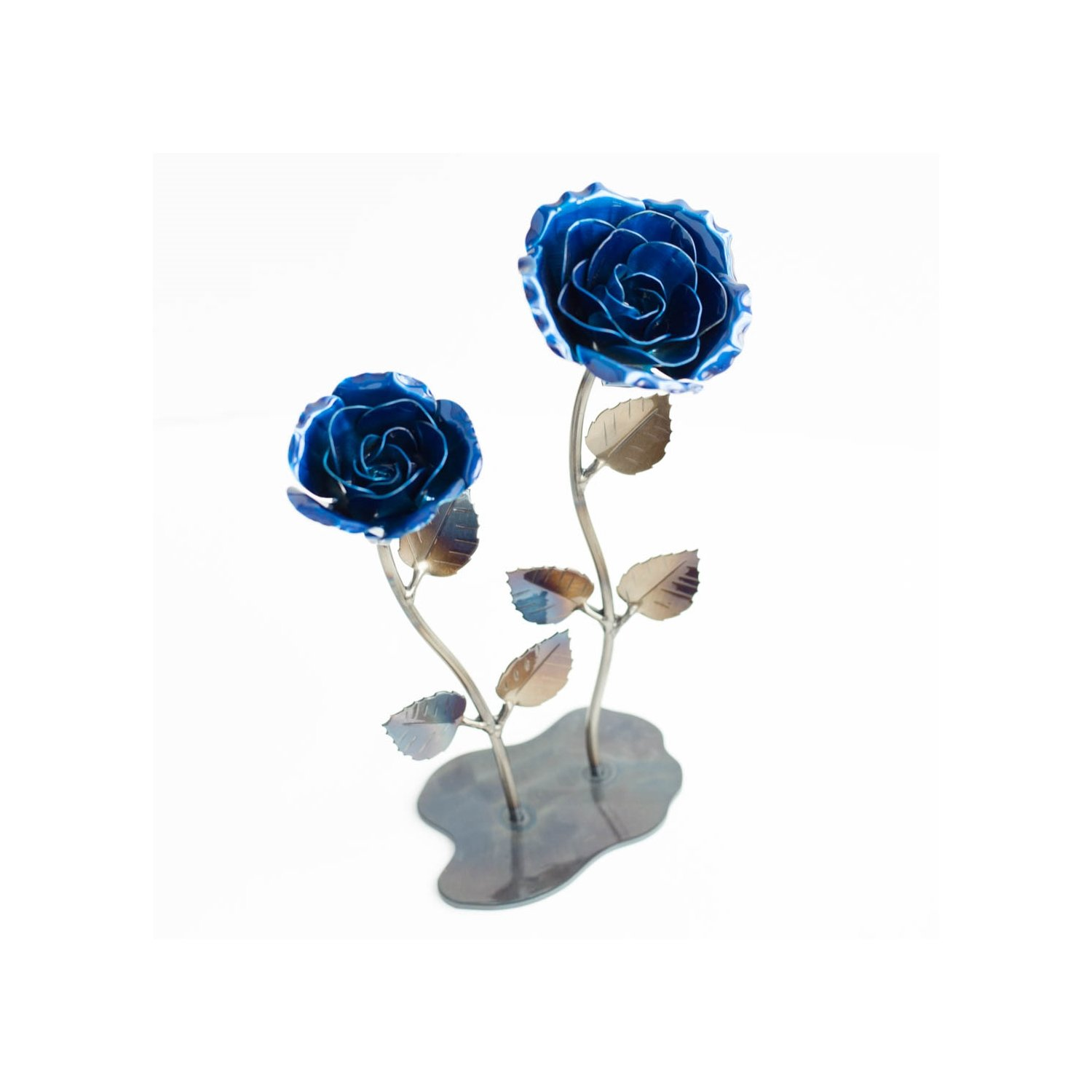 Personalized Hand Forged Wrought Iron Blue Metal Roses (Set of 2)