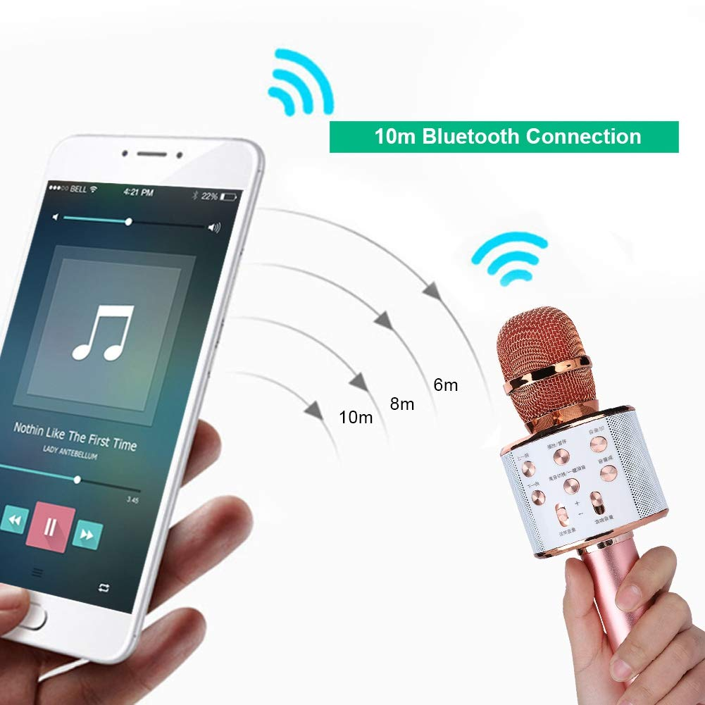 ASHATA Karaoke Machine,Stereo Surrounding Sound Karaoke Bluetooth Microphone with Speaker Stereo Surrounding Sound Support U Disk/TF Card,Wireless Karaoke Microphone MIC with Long Play Time by ASHATA (Image #3)