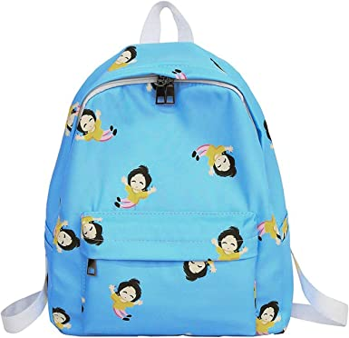 Amazingdeal Cartoon Graffiti Print Backpack Women Girl Nylon Travel Shoulder Schoolbags