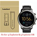 Lamshaw Smartwatch Band for Fossil Q Explorist Stainless Steel Metal Replacement Straps for Gen 3 Smartwatch - Fossil Q EXPLORIST SMOKE (Black)