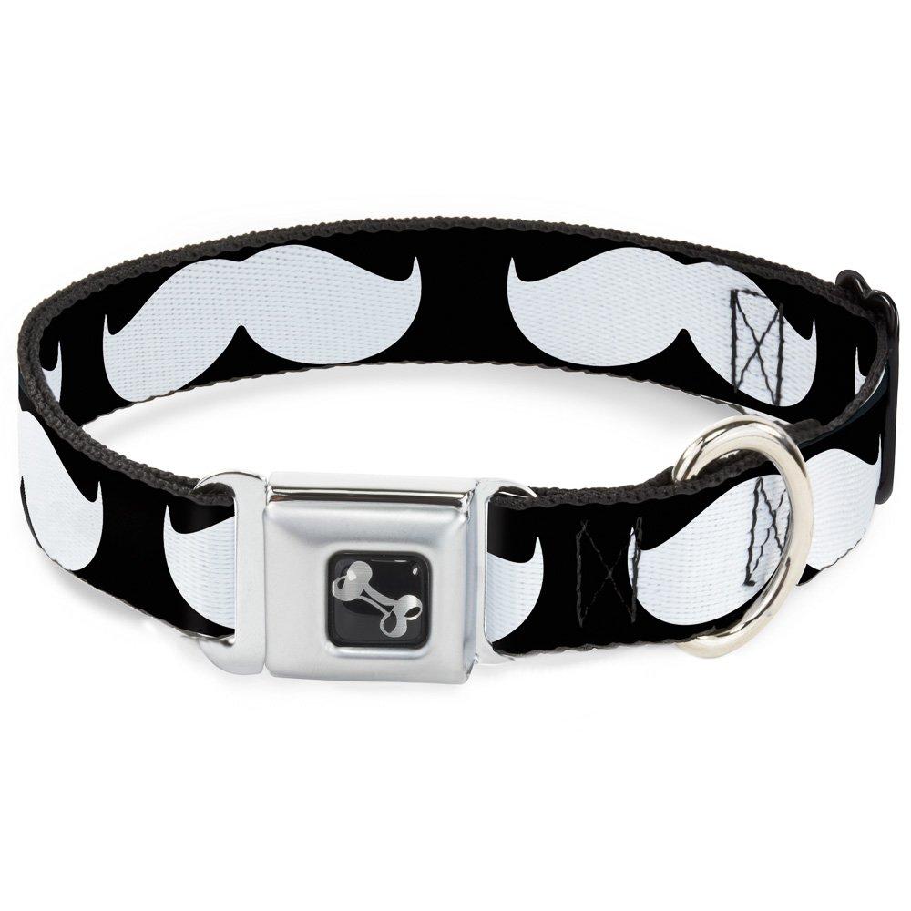 Buckle-Down 16-23  Mustache Black White Dog Collar Bone, Wide Medium