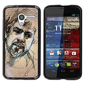 TopCaseStore / la caja del caucho duro de la cubierta de protección de la piel - Sketch Portrait Beard Man Sad - Motorola Moto X 1 1st GEN I XT1058 XT1053 XT1052 XT1056 XT1060 XT1055