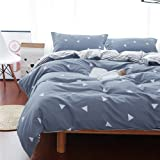 3 Piece Summer Blue Gray Thin Duvet Cover Set Queen (1 90x90 Duvet Cover + 2 Pillow Shams) with White Triangles , 800 TC with