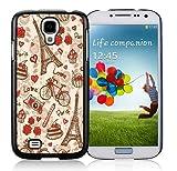France Paris Love City Eiffel Tower Floral Pattern Black Samsung Galaxy S4 I9500 Shell Phone Case,Popular Design