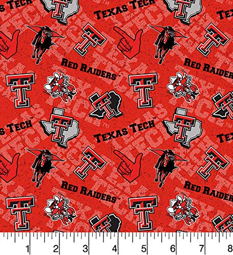 Texas TECH University Cotton Fabric with New Tone ON Tone Design Newest Pattern