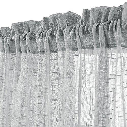 Linen Look Sheer Valance Bedroom 16 inch Length Valances Windows Rod Pocket Curtain Valance Grey Living Room, 1 Panel, Grey by jinchan (Image #2)'