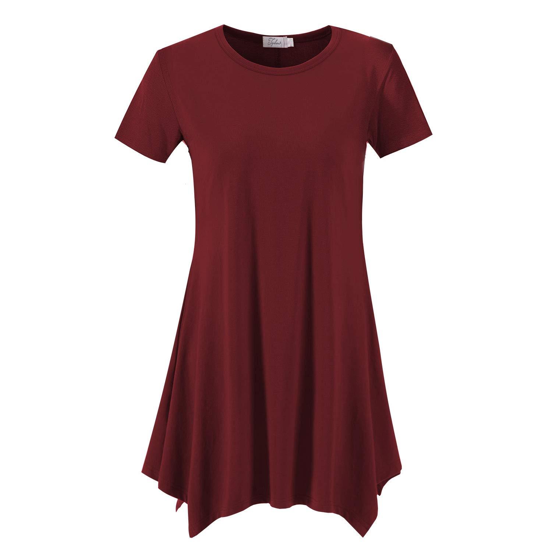 Topdress Women's Loose Fit Swing Shirt Casual Tunic Top Leggings Burgundy L