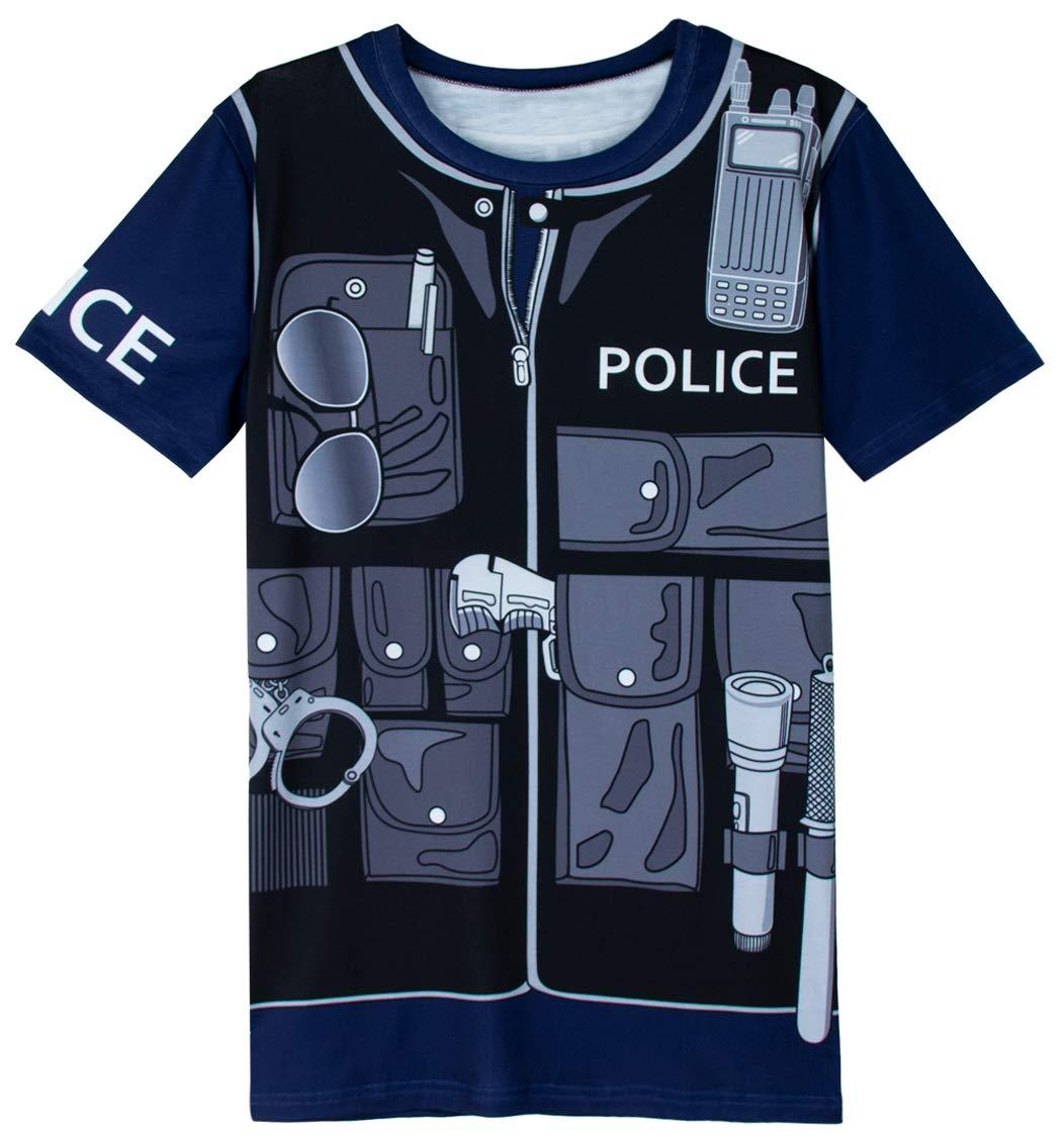 COSAVOROCK Disfraz de Policía para Hombre Camiseta (M, Navy Azul): Amazon.es: Ropa y accesorios