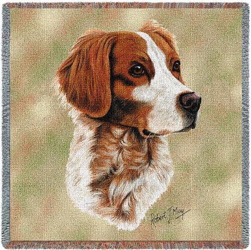Pure Country 1154-LS Brittany Spaniel Pet Blanket, Canine on Beige Background, 54 by 54-Inch by Pure Country