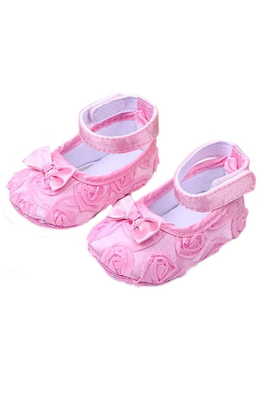 SODIAL Bebe fille Confortable Antiderapantes Chaussures de princesse pour le tout-petit (6-12 mois, Rose)