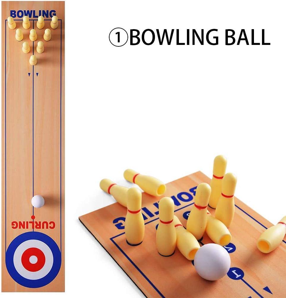 3 in 1 Tisch Curling Spiel Bowling Shuffleboard Tisch Set Familienspiele f/ür Home Party Geschenk f/ür Kinder und Erwachsene HEREB Kinder Lernspielzeug