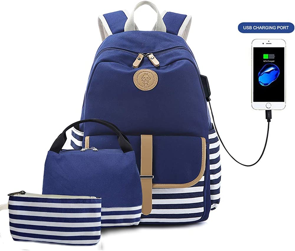 Goodking Canvas Backpack School Backpack for Teen Girls Women, Lightweight Laptop Bag with USB Charging Port and Insulated Lunch Bag Pencil Case, 3 in 1 Blue