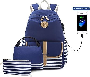 Mochilas Escolares de Lona para ni/ñas Mochilas Escolares para Adolescentes Mochilas para Mujeres Mochilas para computadora port/átil con Puerto de Carga USB