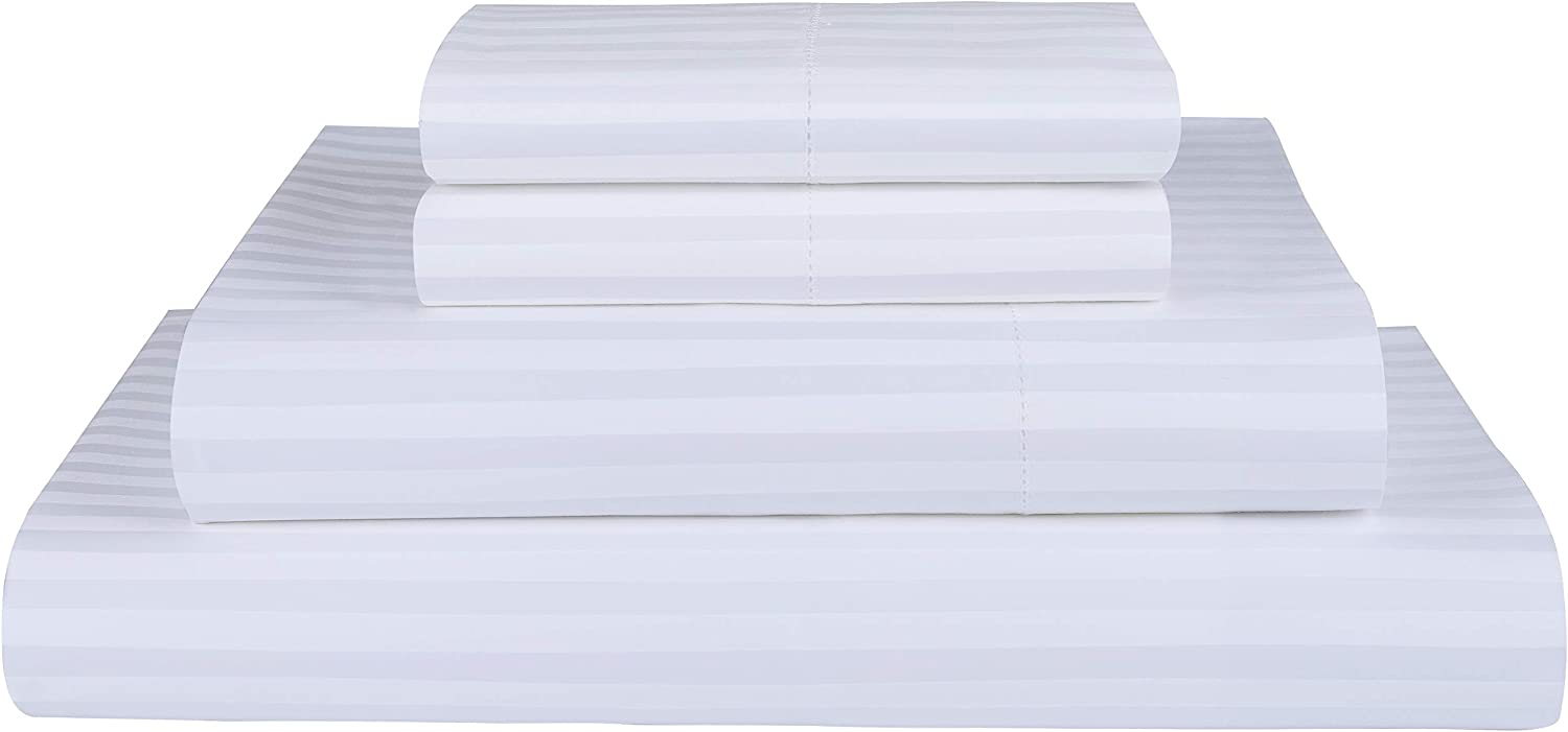 Threadmill Home Linen 600 Thread Count 100% Cotton Sheets, 1CM Damask Stripe White King Size Sheets 4 Piece ELS Cotton Bed Sheets, Soft & Silky Sateen Weave Fits Mattress Up to 18'' Deep Pocket