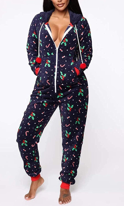 Huyghdfb Women Christmas Pajamas Romper Tree Pattern Long ...