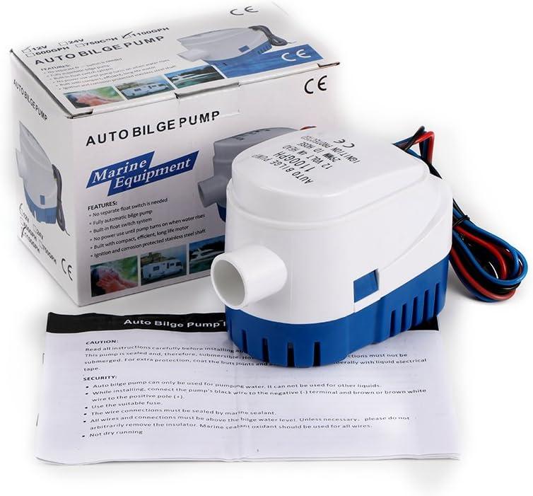 Sunsbell 1100 GPH Bomba de Muelle automática para Barcos Bomba Sumergible eléctrica 12V DC Pequeña Agua