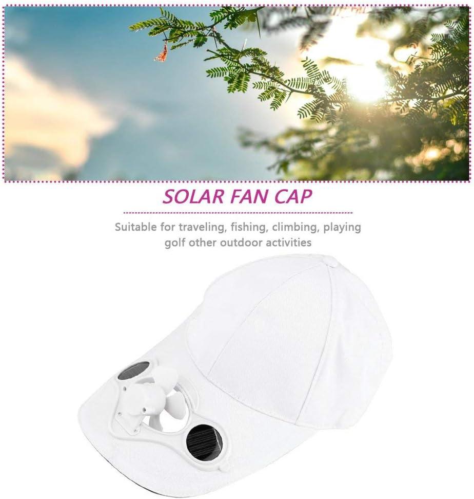 Leoboone Fishing Summer Sport Gorra de sombrero al aire libre con energía solar Solar Ventilador fresco para ciclismo Ahorro de energía No se requieren baterías