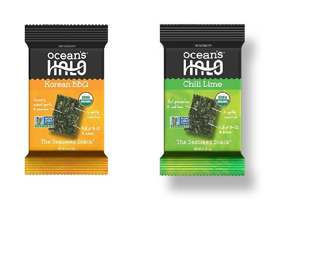 Ocean's Halo Seaweed Snacks Variety, Chili Lime & Korean BBQ (One 12-tray cases of each flavor)