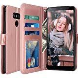 LG G6 Plus Case, LG G6 Case, LK Luxury PU Leather Wallet Flip Protective Case Cover with Card Slots and Stand for LG G6/LG G6+ (Rose Gold)