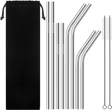 8stk Edelstahl Metall Trinkhalm Strohhalme mit 3 Reinigung Bürste Brush Set