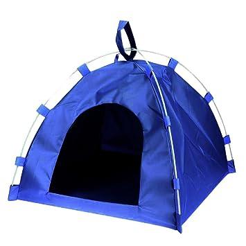OuYou Tienda de Campaña Portátil Para Mascotas Lavable y Plegable Refugio Duradero Impermeable Al Aire Libre Para Perros y Gatos (Azul): Amazon.es: ...