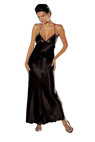 Women Satin Nightgown Lace Lingerie Trimmed Long Length Slip Dress Long Chemise Sleepwear Sexy Night