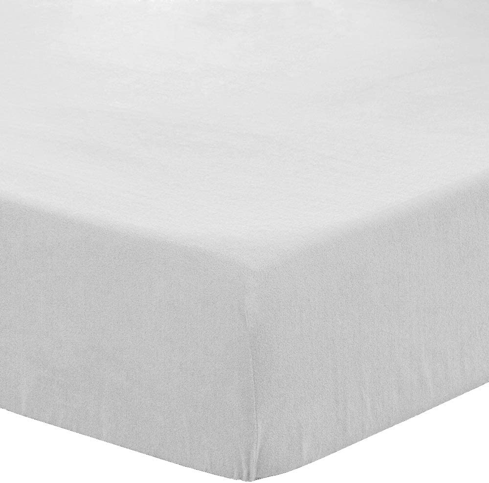 Bare Home Super Soft Fleece Fitted Sheet - Queen Size - Extra Plush Polar Fleece, Pill Resistant - Deep Pocket - All Season Cozy Warmth, Breathable & Hypoallergenic (Queen, White)