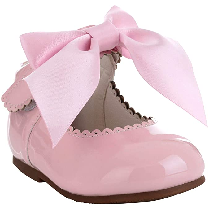 f84ef2ded28f9 Girls Bridesmaids Bow Ribbon Party Shoes Patent Shoes Infant Sizes UK  1,2,3,4,5,6,7,8,9,10