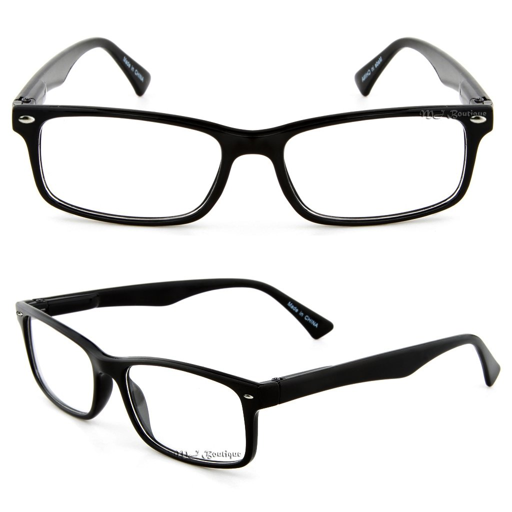 aa7de9352c Amazon.com  Retro Horned Rim Retro Classic Nerd Glasses Clear Lens  (Rectangle Black