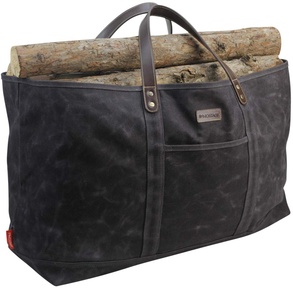 INNO STAGE Waxed Canvas Firewood Carrier, Cotton Log Carrying Tote Bag, Large Fire Wood Holder Accessories for Fireplace Stove with Real Leather Handles by INNO STAGE