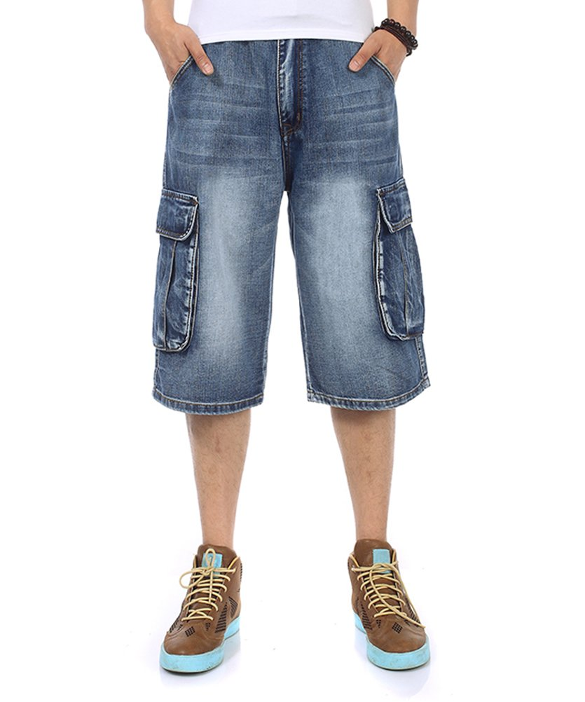 PY-BIGG Men's Jeans Shorts Cargo Denim Shorts Relaxed Fit Big and Tall Loose Casual Plus Size 30W-46W
