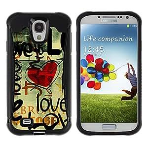 Be-Star único patrón Impacto Shock - Absorción y Anti-Arañazos Funda Carcasa Case Bumper Para SAMSUNG Galaxy S4 IV / i9500 / i9515 / i9505G / SGH-i337 ( Love Grunge Heart )