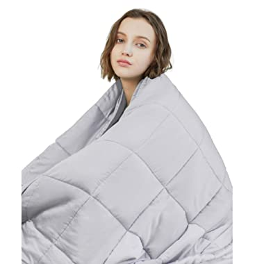 YnM Weighted Blanket (22 lbs, 60''x80'', Queen Size) | 2.0 Heavy Blanket | 100% Cotton Material with Glass Beads